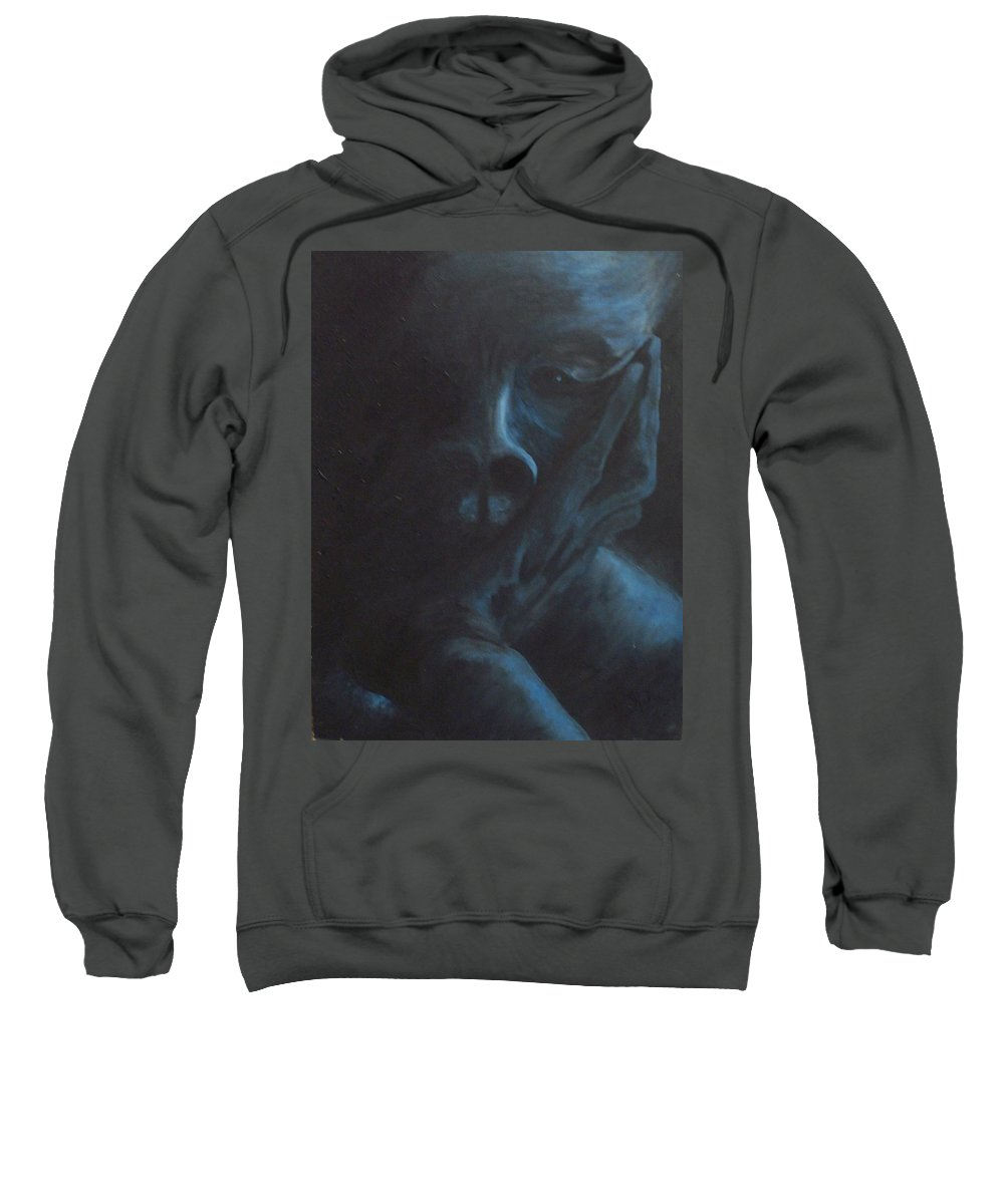 Sad Sweatshirt featuring the painting Misery by Gale Cochran-Smith