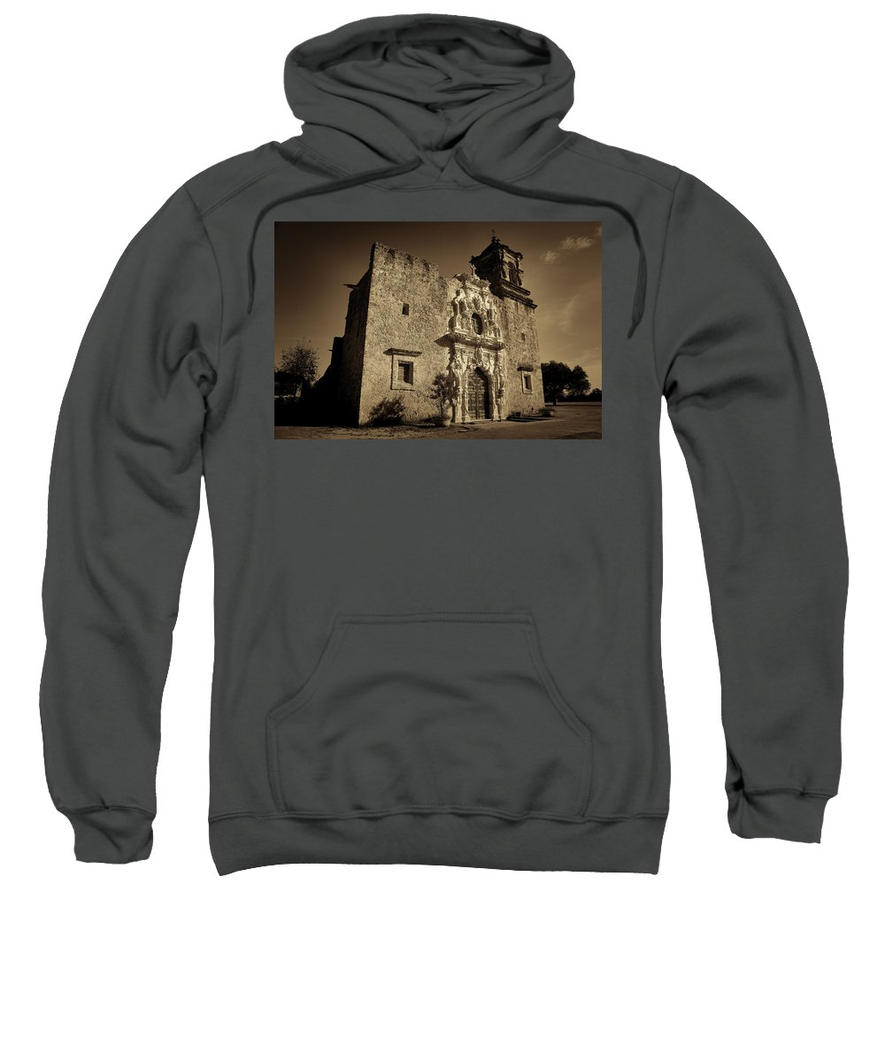 Texas Sweatshirt featuring the photograph Mission San Jose - Sepia by Stephen Stookey
