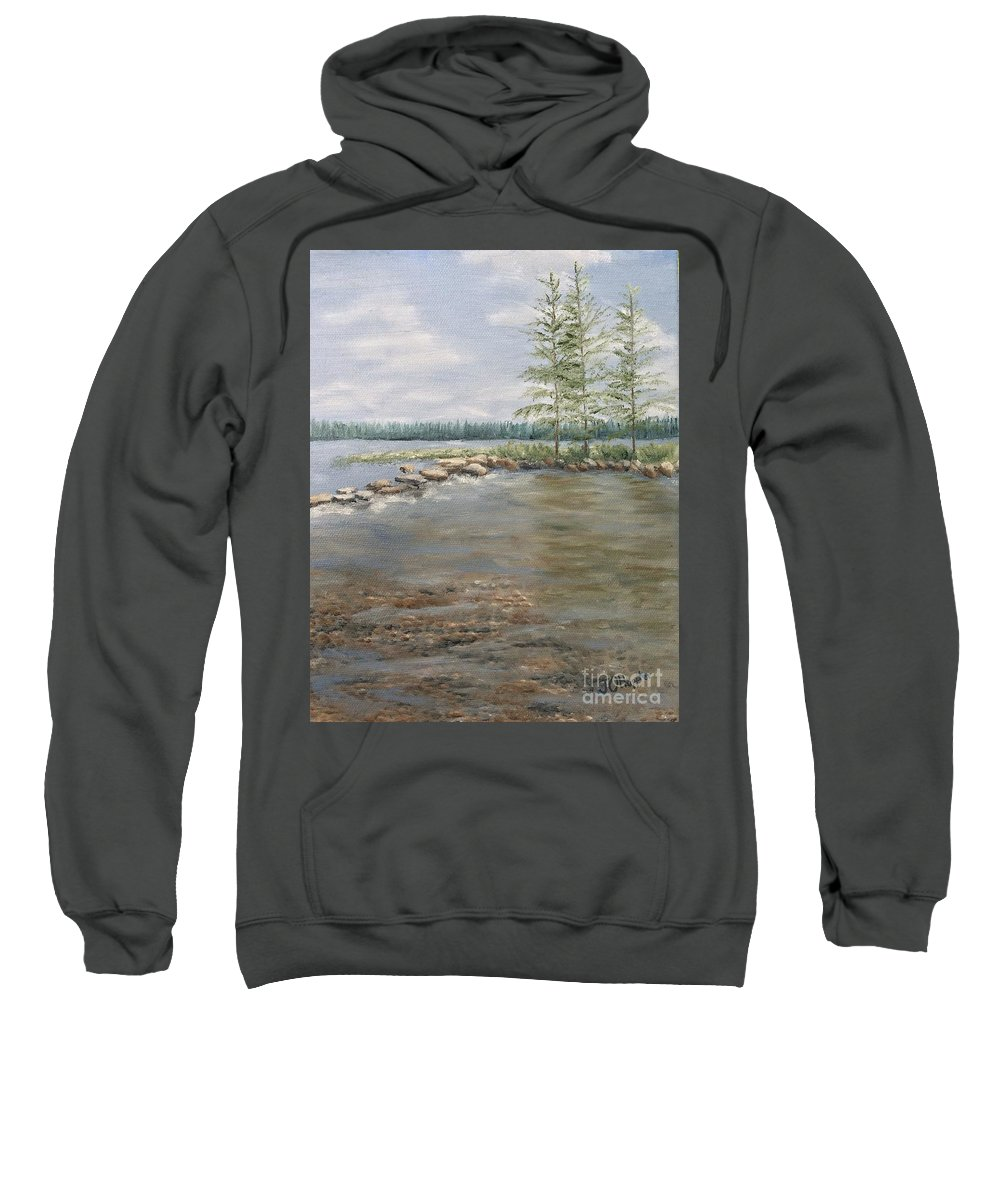Landscape Sweatshirt featuring the painting Mississippi Headwaters 2 by J O Huppler