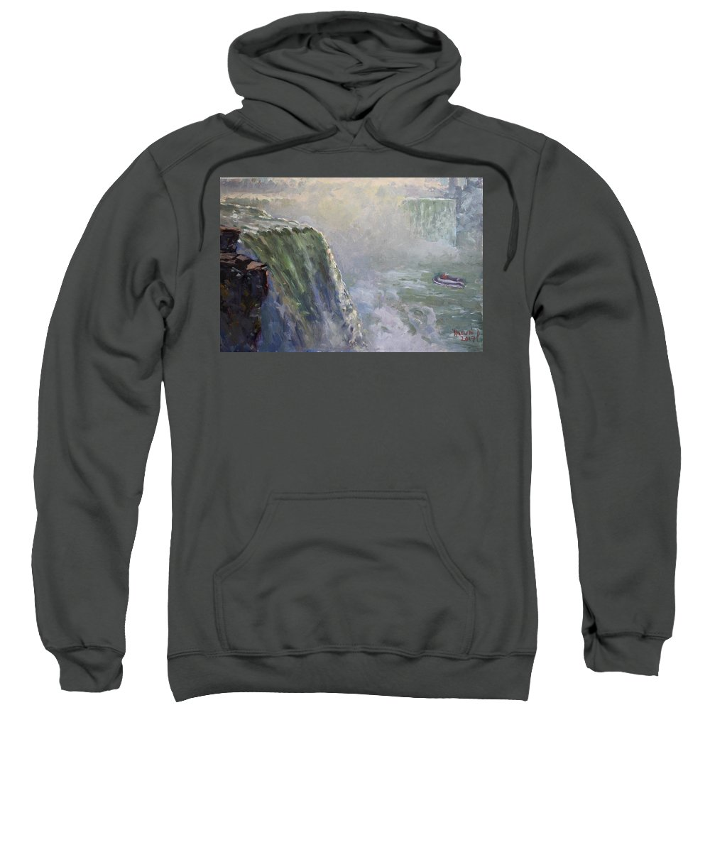 Mist Sweatshirt featuring the painting Mist At Horseshoe Falls by Ylli Haruni