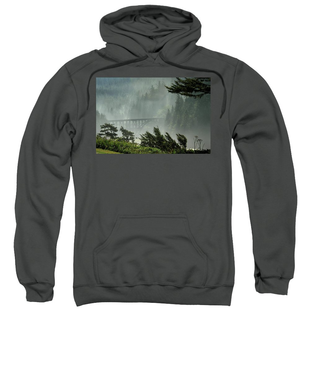 Misty Sweatshirt featuring the photograph Misty Bridge At Heceta Head by James Eddy
