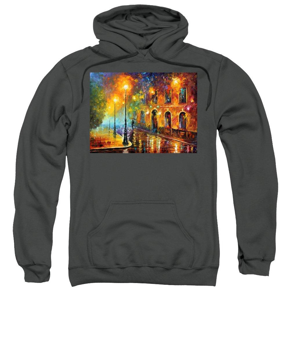 Afremov Sweatshirt featuring the painting Misty City by Leonid Afremov