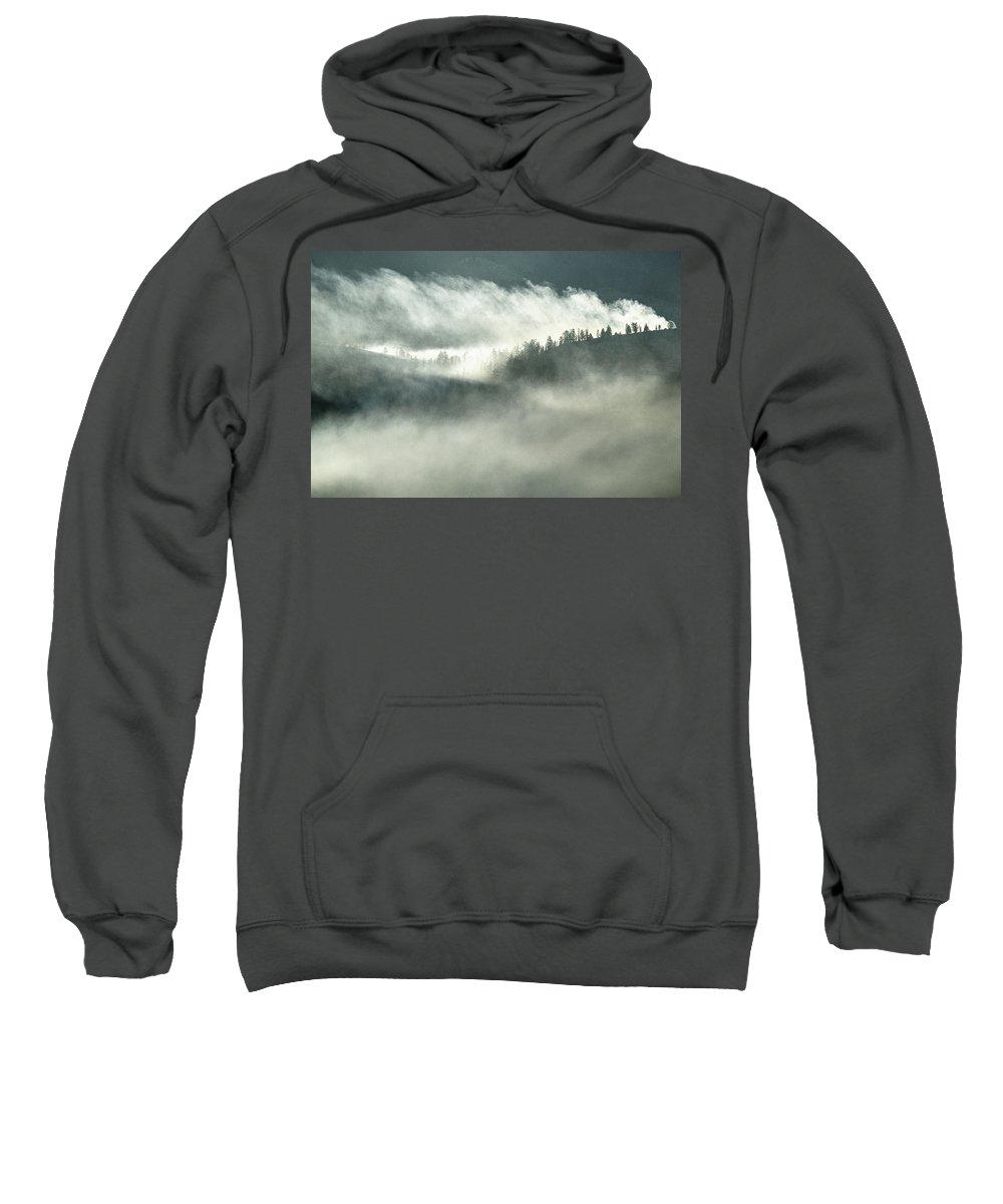 Misty Mountain Sweatshirt featuring the photograph Misty Mountain by Surjanto Suradji