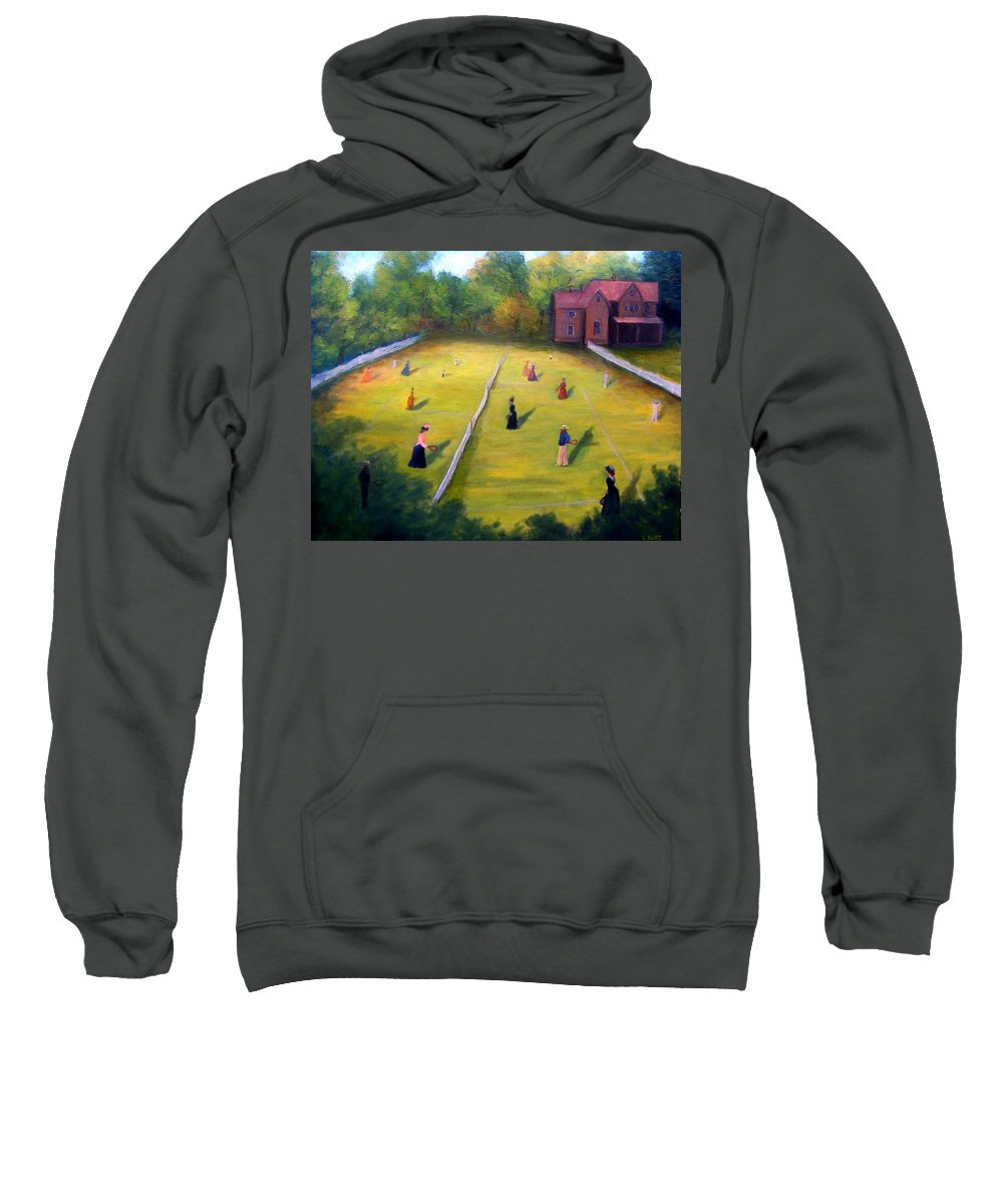 Tennis Art Sweatshirt featuring the painting Mixed Doubles by Gail Kirtz