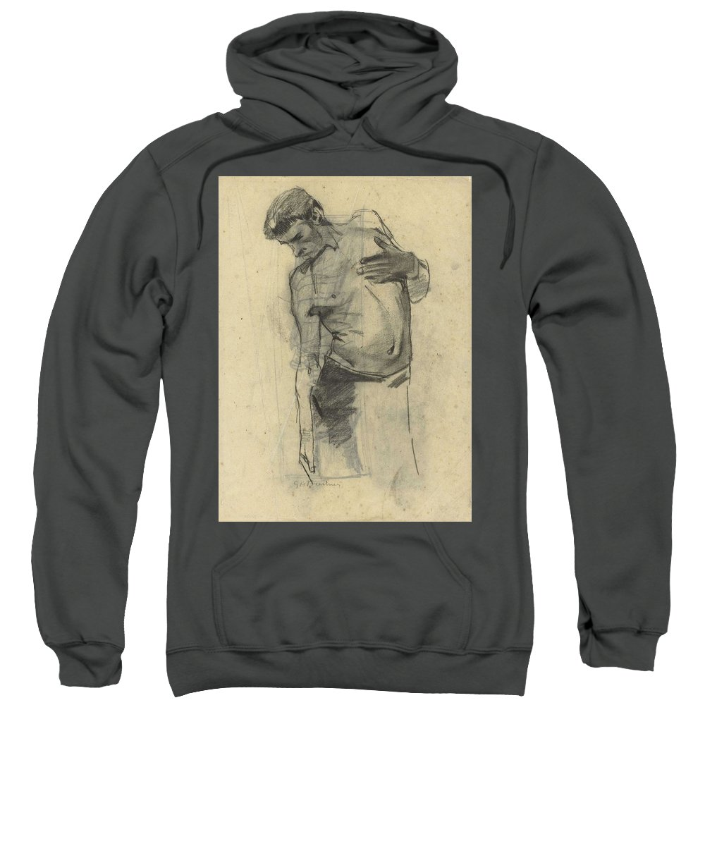 Man Sweatshirt featuring the painting Model Study Of Standing Half-naked Man, For Seeing Down, George Hendrik Breitner, 1867 - 1923 by George Hendrik Breitner