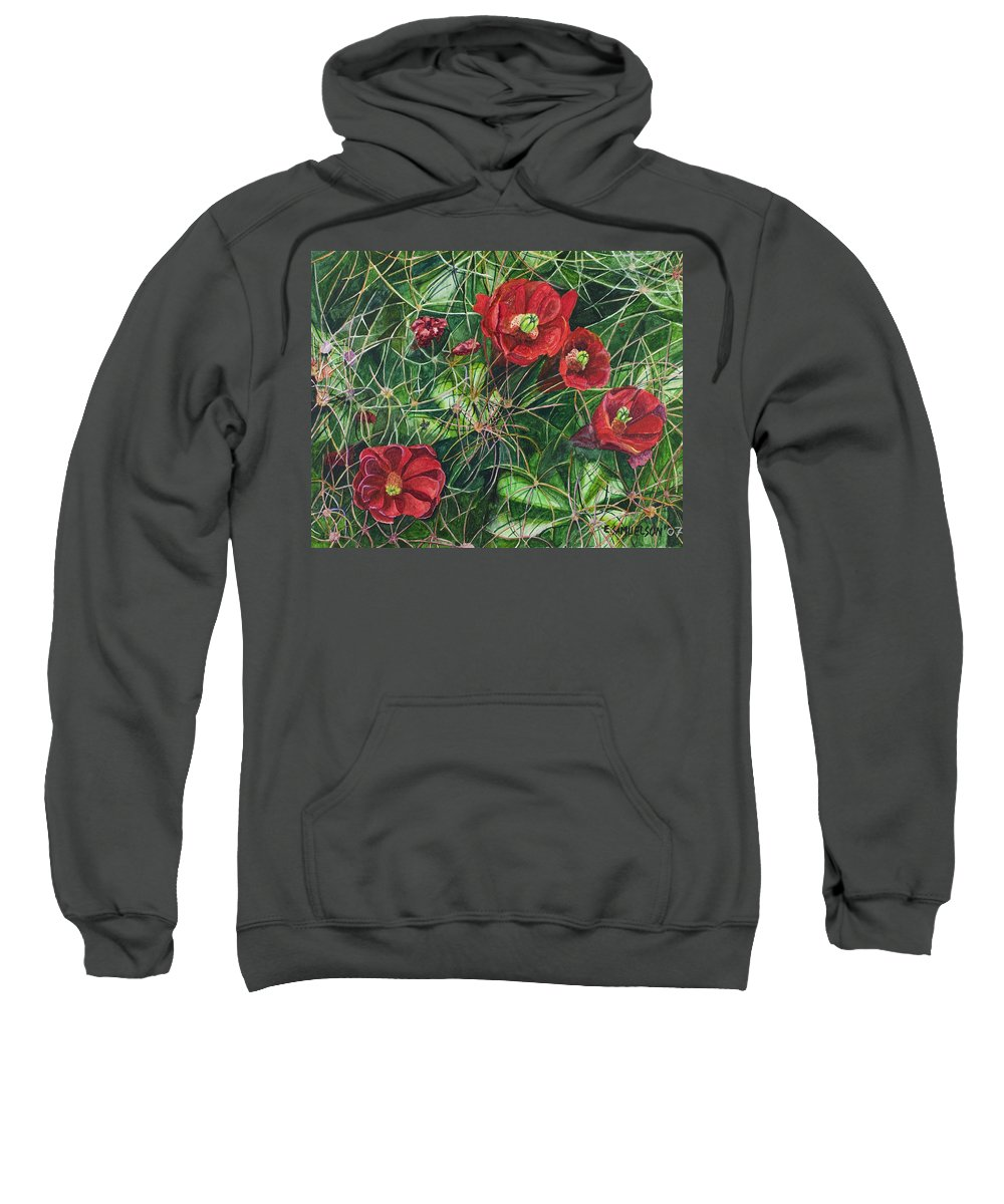 Mohave Sweatshirt featuring the painting Mohave Mound Cactus by Eric Samuelson