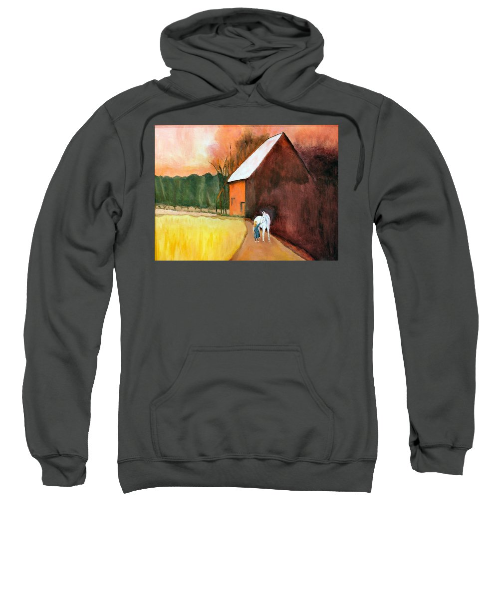 Barn Sweatshirt featuring the painting Molly And Me by Marcy Golub