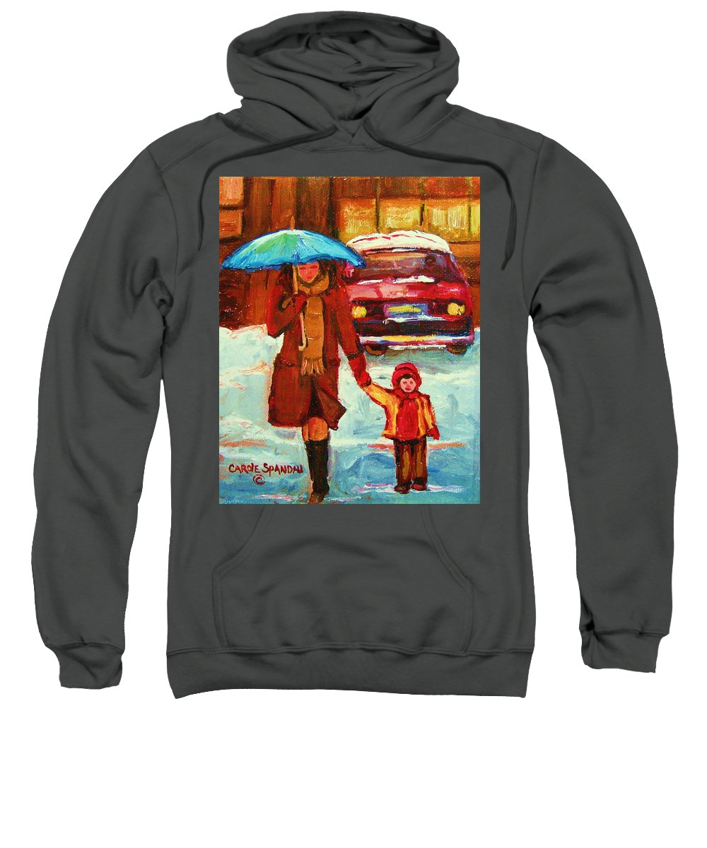 Montreal Sweatshirt featuring the painting Moms Blue Umbrella by Carole Spandau