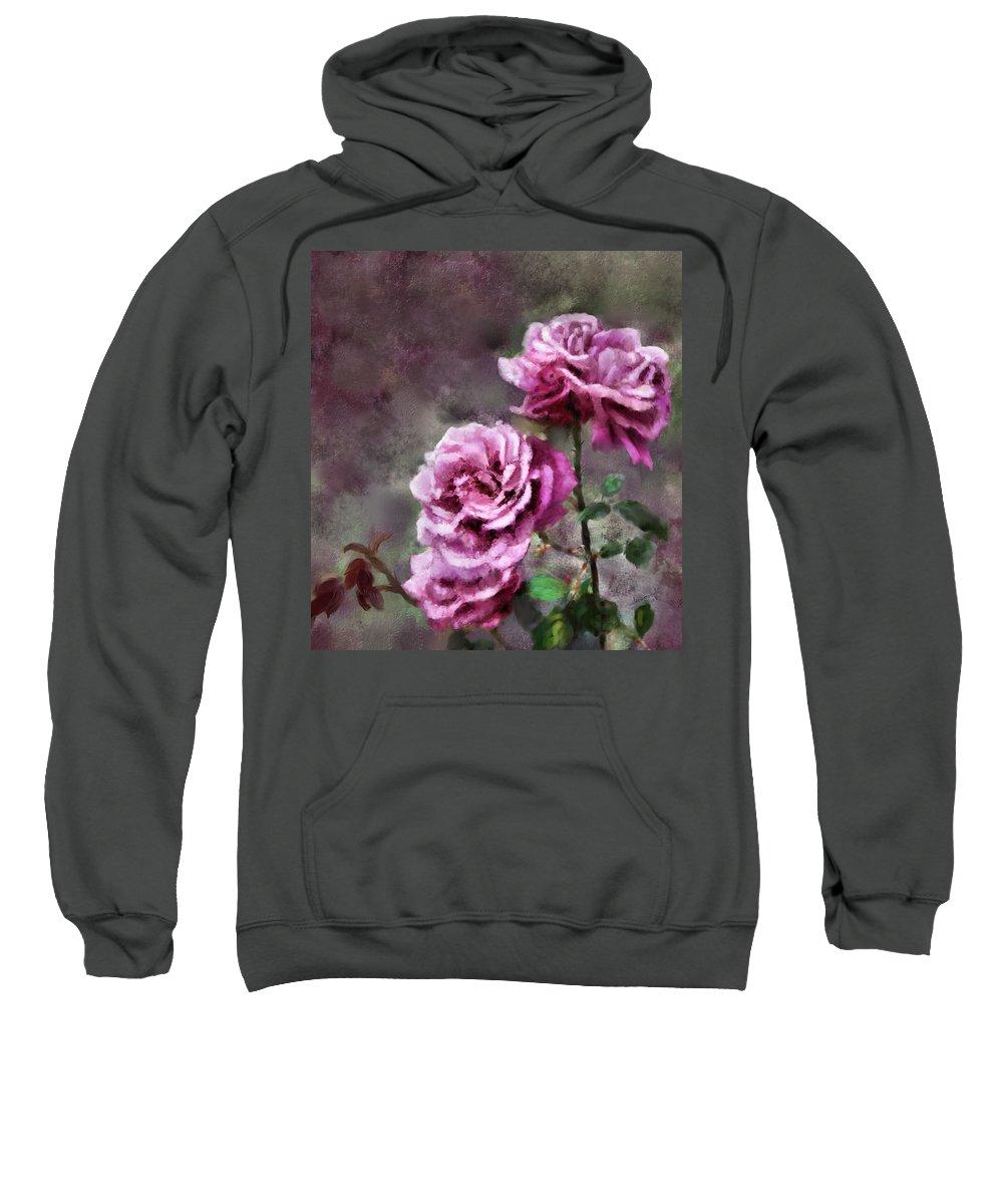Digital Painting Sweatshirt featuring the digital art Moms Roses by Susan Kinney