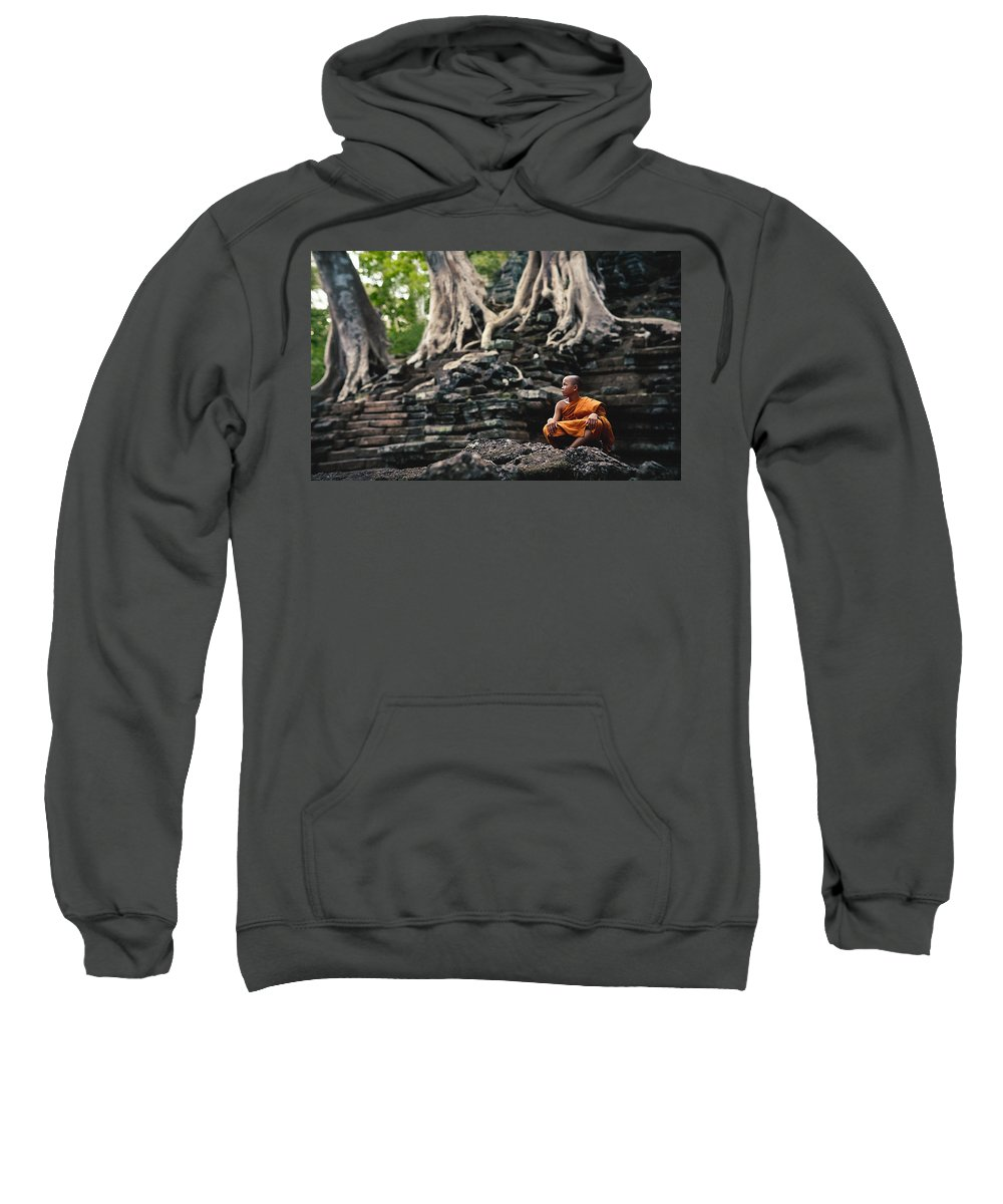 Monk Sweatshirt featuring the photograph Monk At Preah Palilay Temple by Serge Karloff