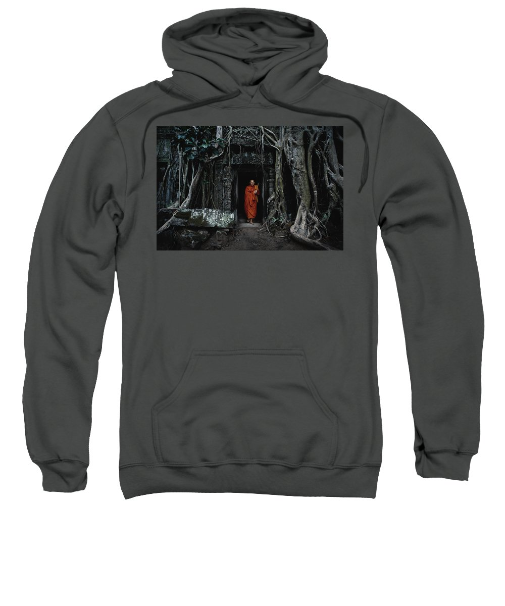 Monk Sweatshirt featuring the photograph Monk At Ta Prohm Temple by Serge Karloff