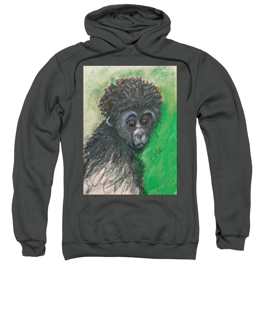 Monkey Sweatshirt featuring the drawing Monkey Business by Cori Solomon