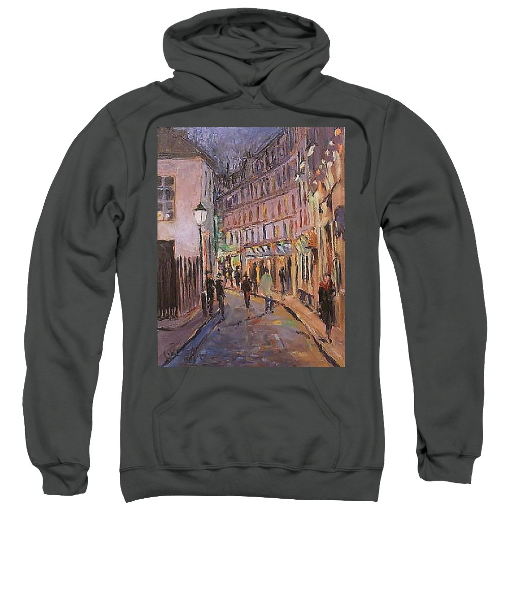 Paris Sweatshirt featuring the painting Monmartre by Walter Casaravilla