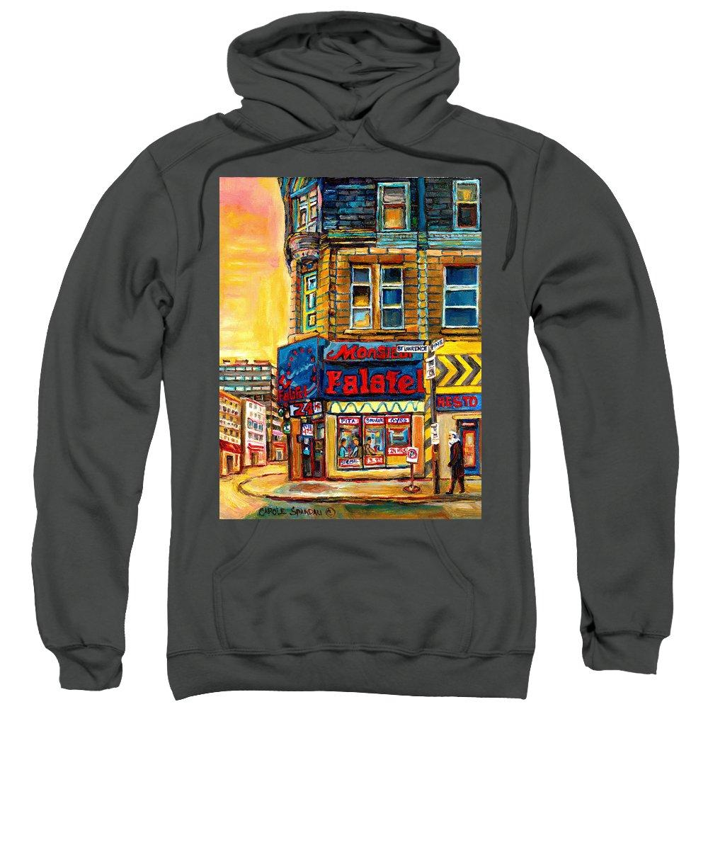 Montreal Sweatshirt featuring the painting Monsieur Falafel by Carole Spandau