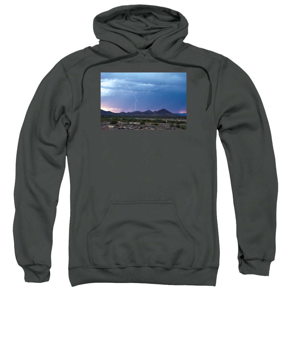 Lightning Sweatshirt featuring the photograph Monsoon Sunset Strike by Cathy Franklin