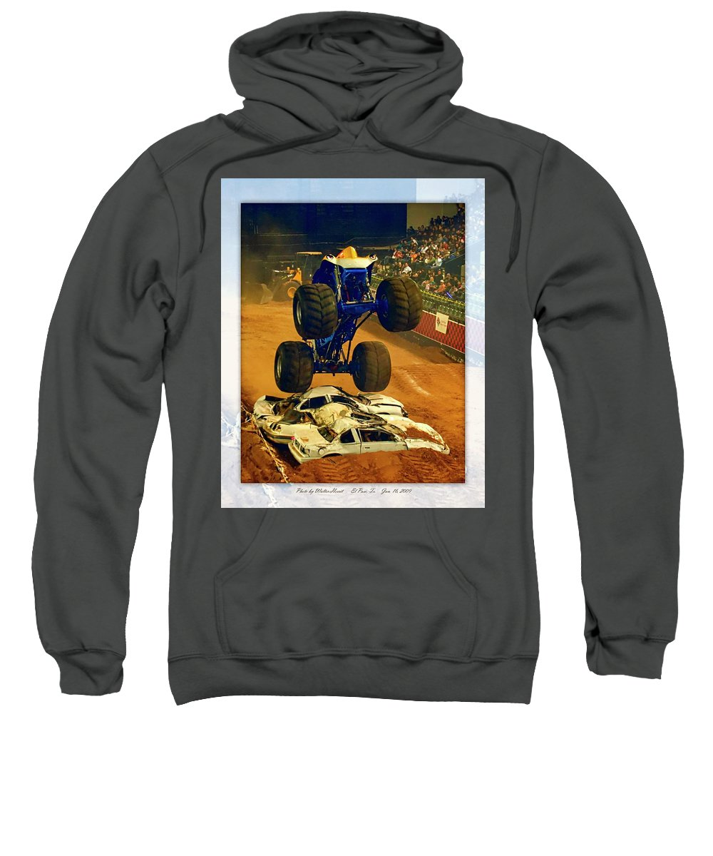 Nasty Boy Sweatshirt featuring the pyrography Monster Truck 1a by Walter Herrit