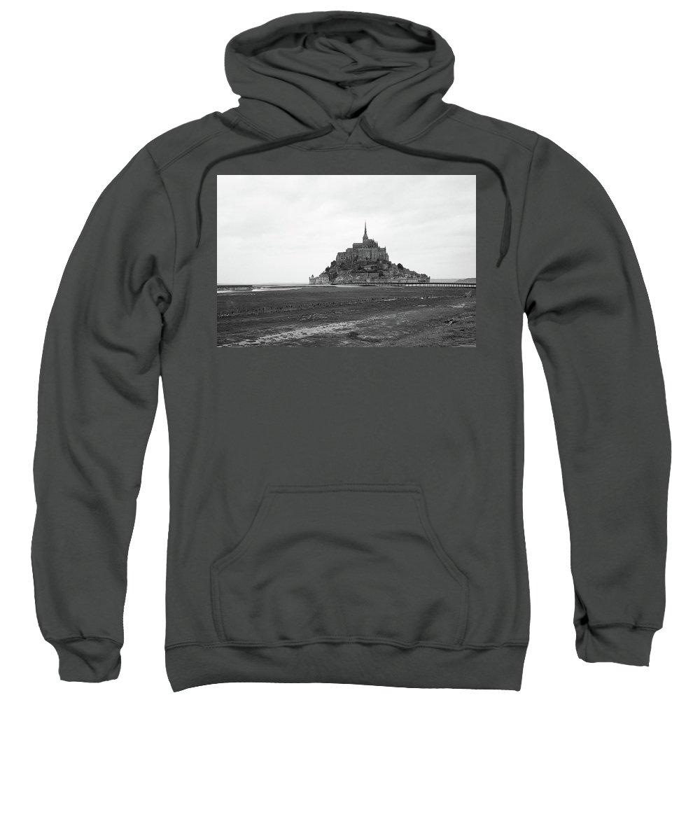 Mont Saint Michel Sweatshirt featuring the photograph Mont Saint Michel Black And White by Sierra Vance
