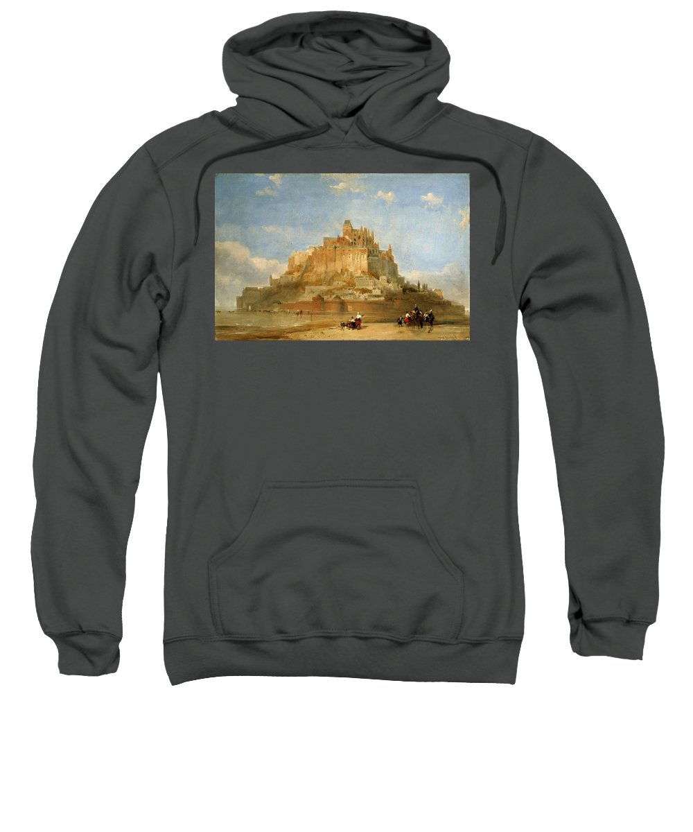 Nature Sweatshirt featuring the painting Mont St Michel From The Sands By David Roberts by David Roberts