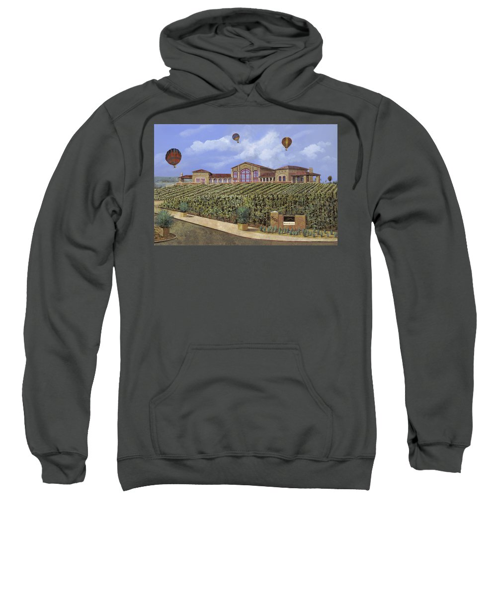 House Portrait  Sweatshirt featuring the painting Monte De Oro And The Air Balloons by Guido Borelli