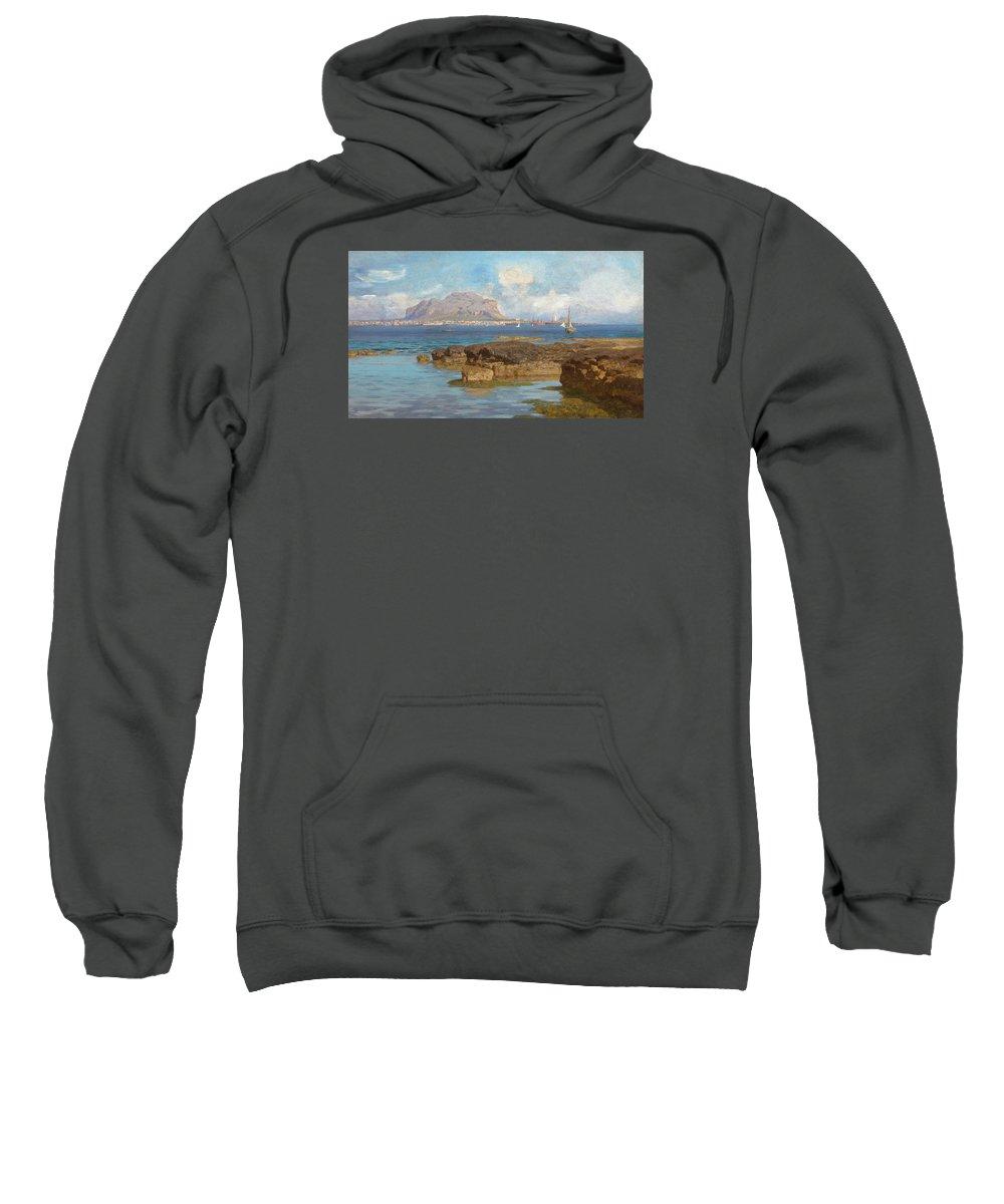 Monte Pellegrino Sweatshirt featuring the painting Monte Pellegrino by Francesco Lojacono