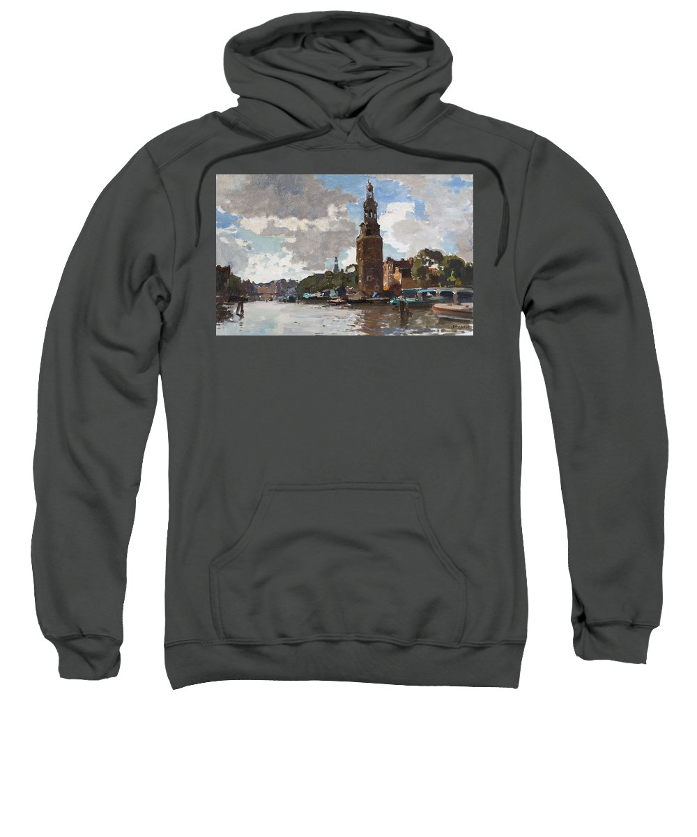 Nature Sweatshirt featuring the painting 'montelbaanstoren' In Amsterdam By Cornelis Vreedenburgh Dutch 1880-1946 by Cornelis Vreedenburgh
