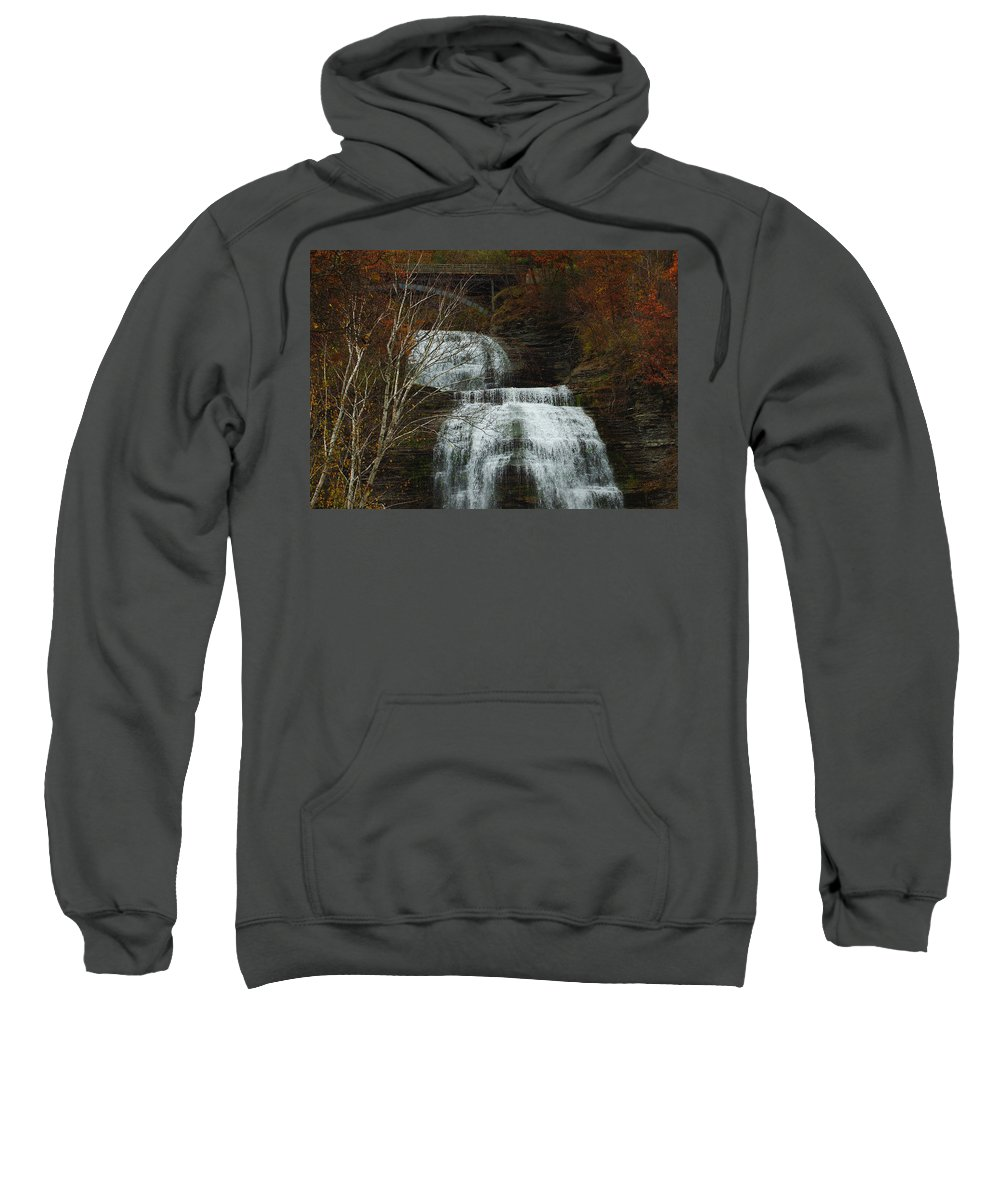Fall Water New York Ny Sweatshirt featuring the photograph Montour Falls by Linda Murphy