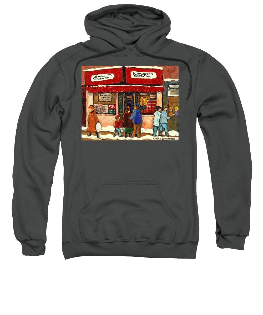 Montreal Hebrew Delicatessen Sweatshirt featuring the painting Montreal Hebrew Delicatessen Schwartzs By Montreal Streetscene Artist Carole Spandau by Carole Spandau
