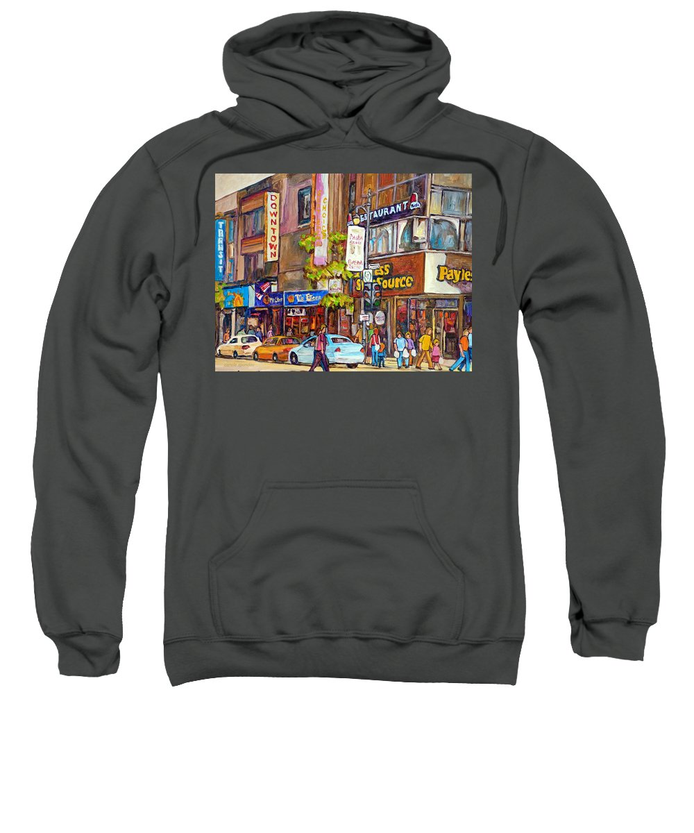 Montreal Sweatshirt featuring the painting Montreal St.catherine Street Corner Peel by Carole Spandau