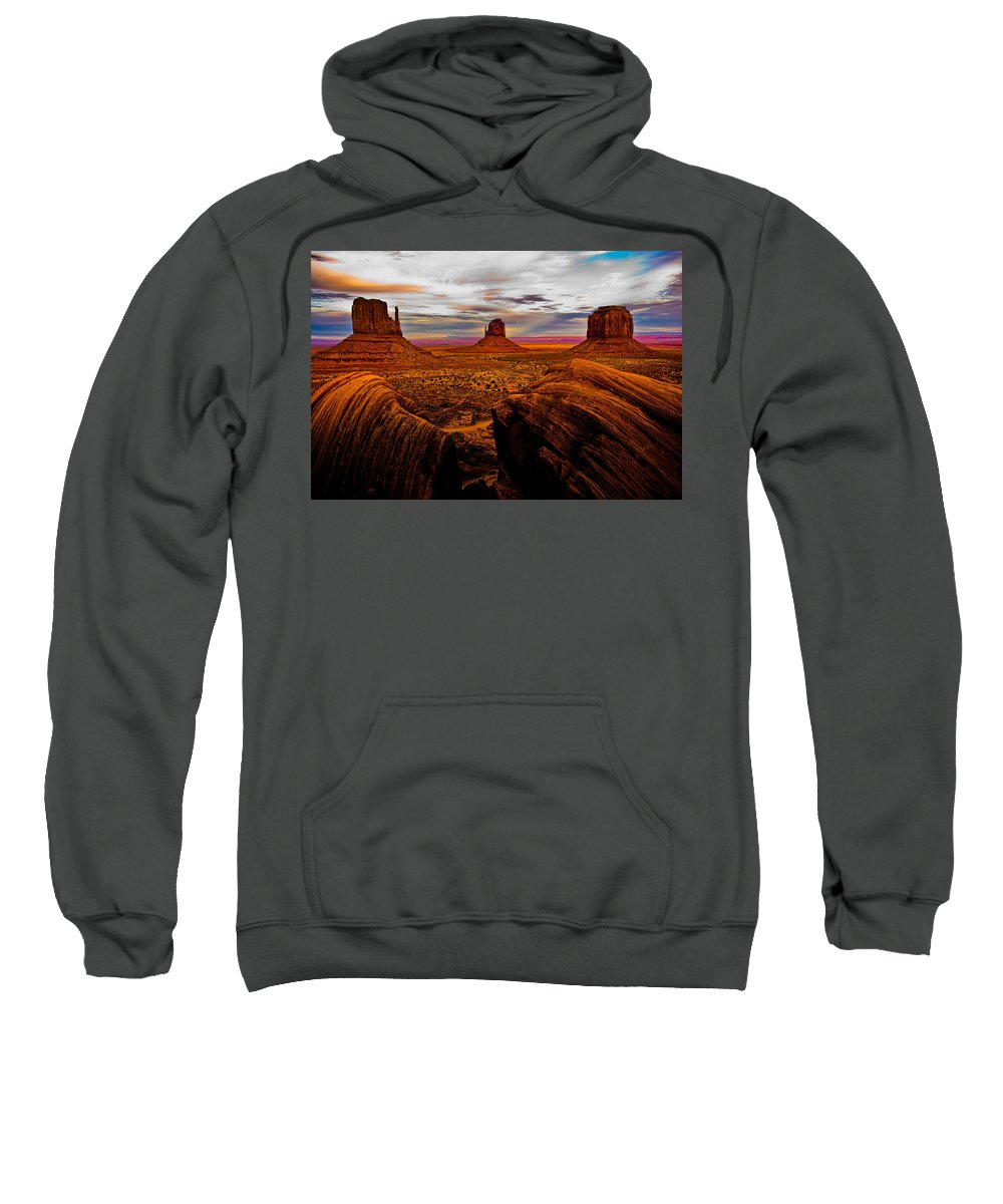 Monument Valley Sweatshirt featuring the photograph Monument Valley by Harry Spitz