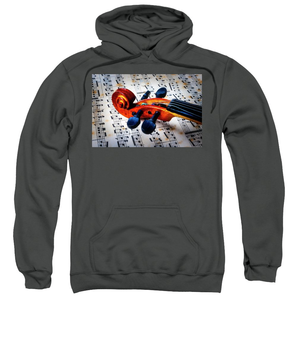 Violin Sweatshirt featuring the photograph Moody Violin Scroll On Sheet Music by Garry Gay