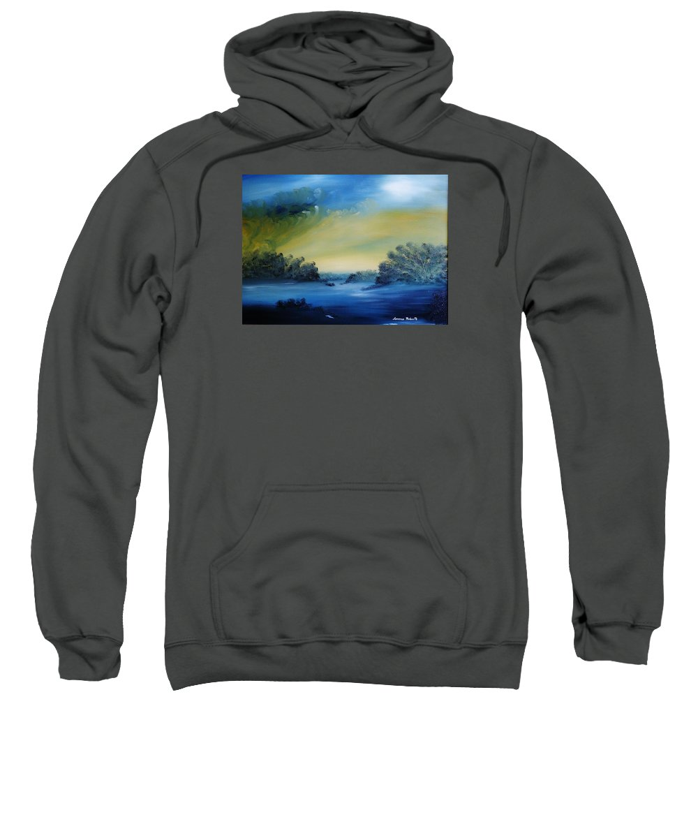 Nature Sweatshirt featuring the painting Moon Glow by Lorenzo Roberts
