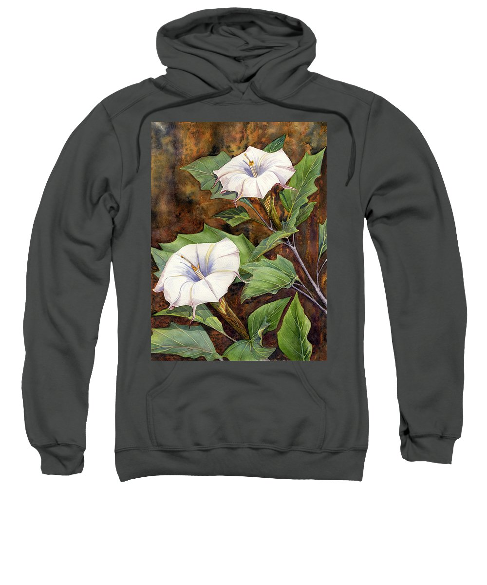 Sacred Datura Sweatshirt featuring the painting Moon Lilies by Catherine G McElroy