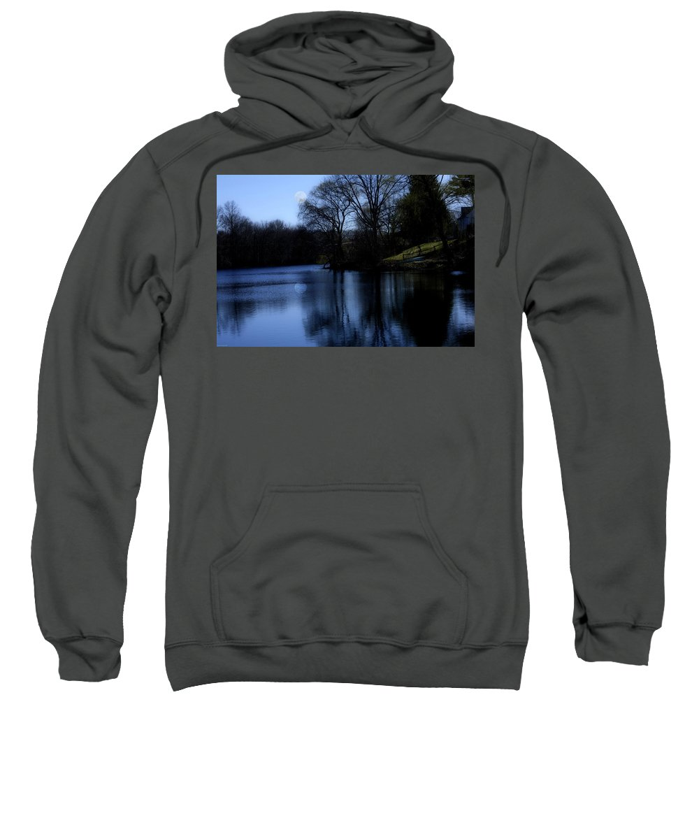 Moon Sweatshirt featuring the digital art Moon Over The Charles by Edward Cardini