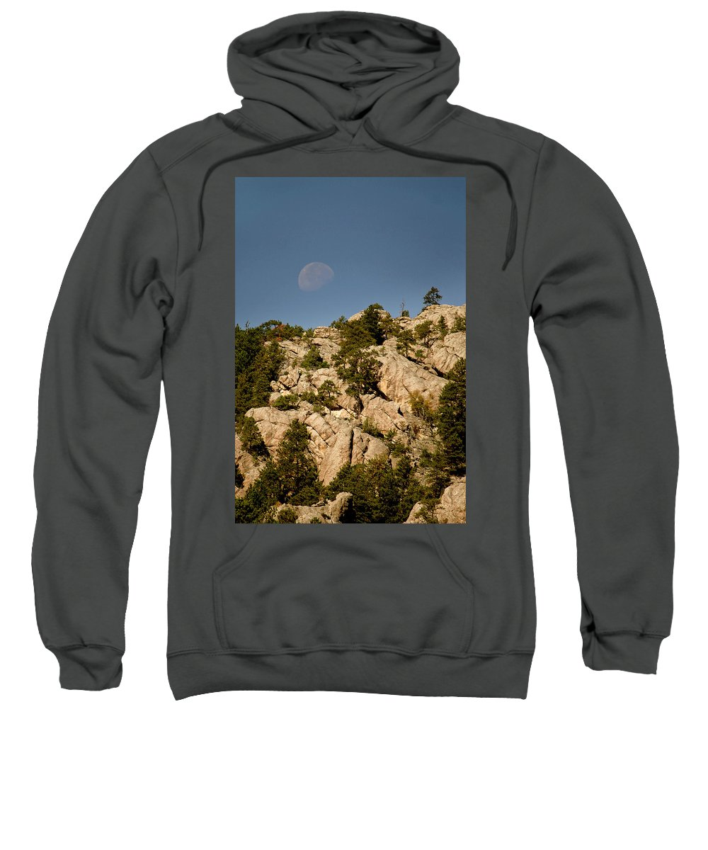 Attraction Sweatshirt featuring the photograph Moon Over The Hills by Mike Oistad