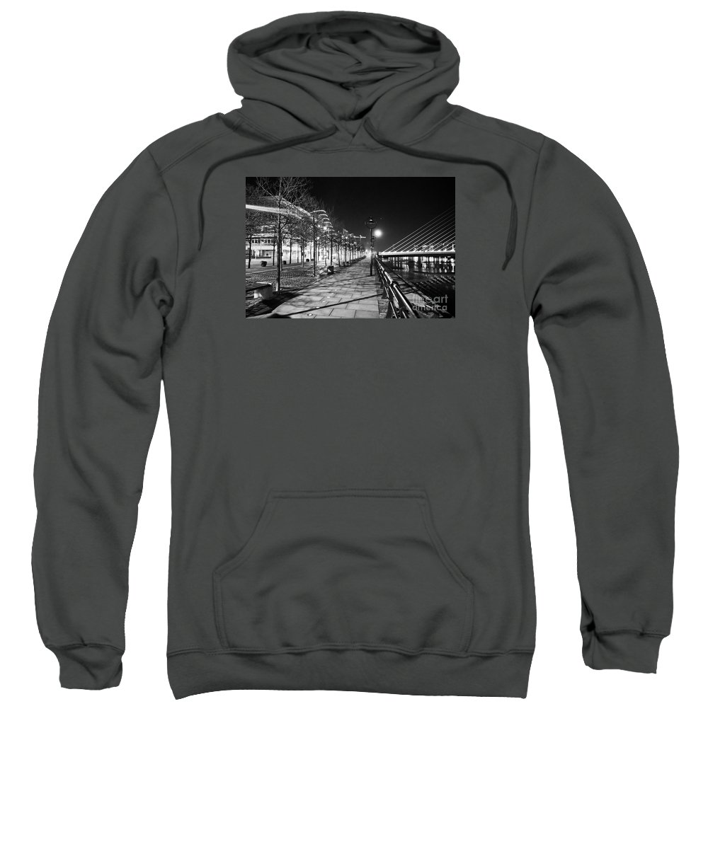The Convention Centre Reflection Sweatshirt featuring the photograph Moon Romance Bw by Alex Art and Photo