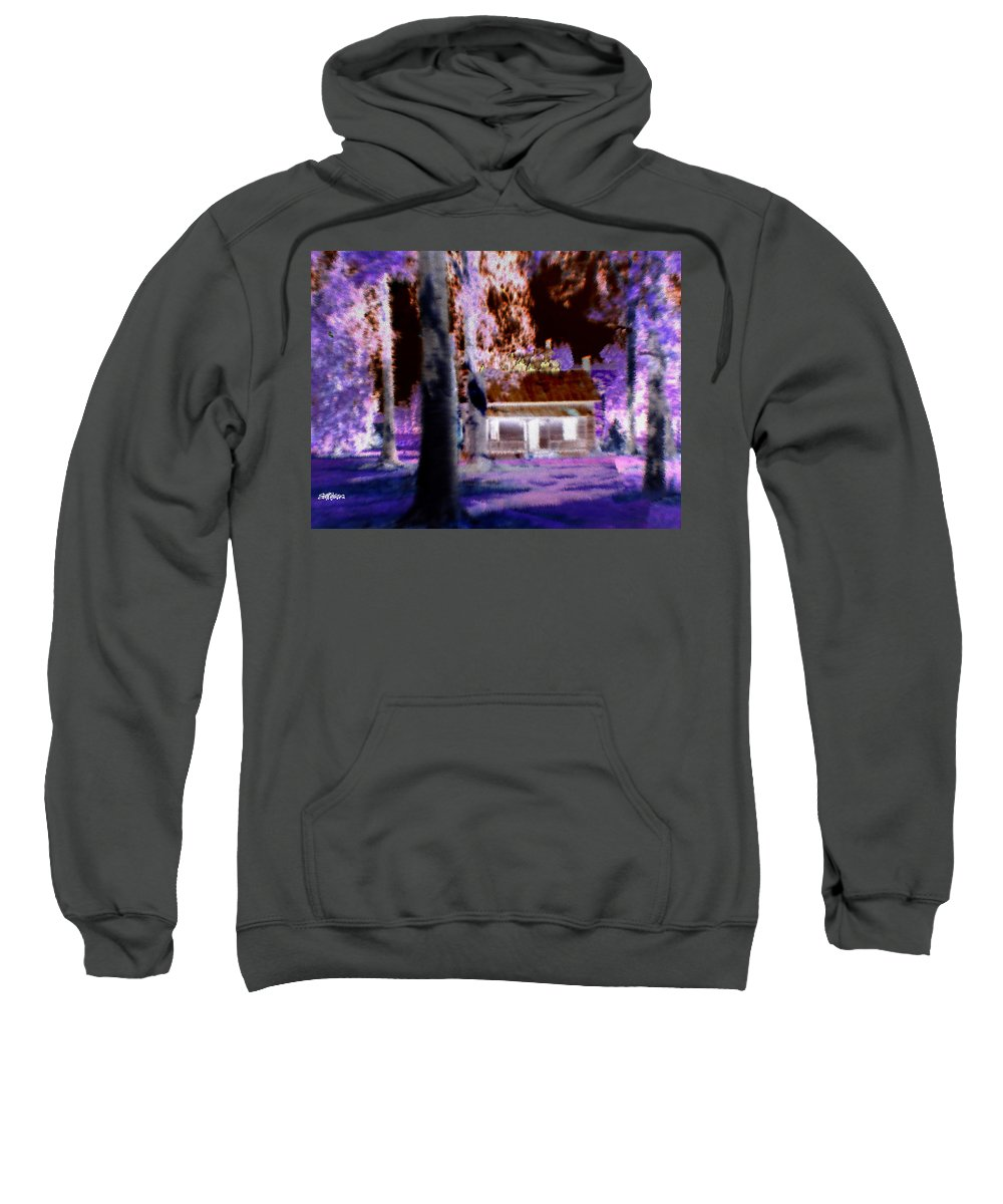 Cabin Sweatshirt featuring the digital art Moonlight Cabin by Seth Weaver
