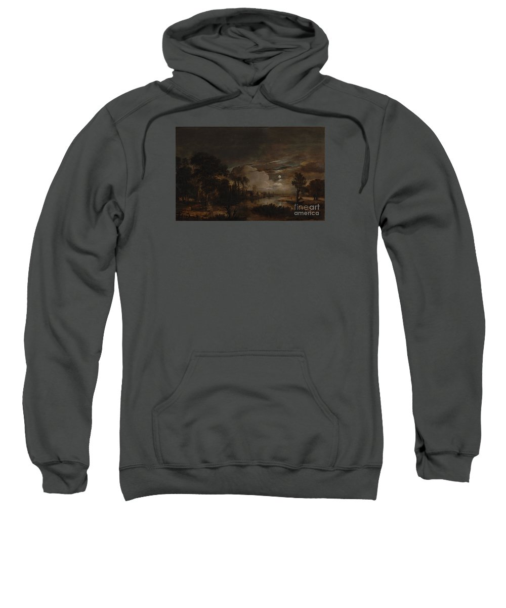 Aert Van Der Neer (dutch Sweatshirt featuring the painting Moonlit Landscape With A View by Celestial Images