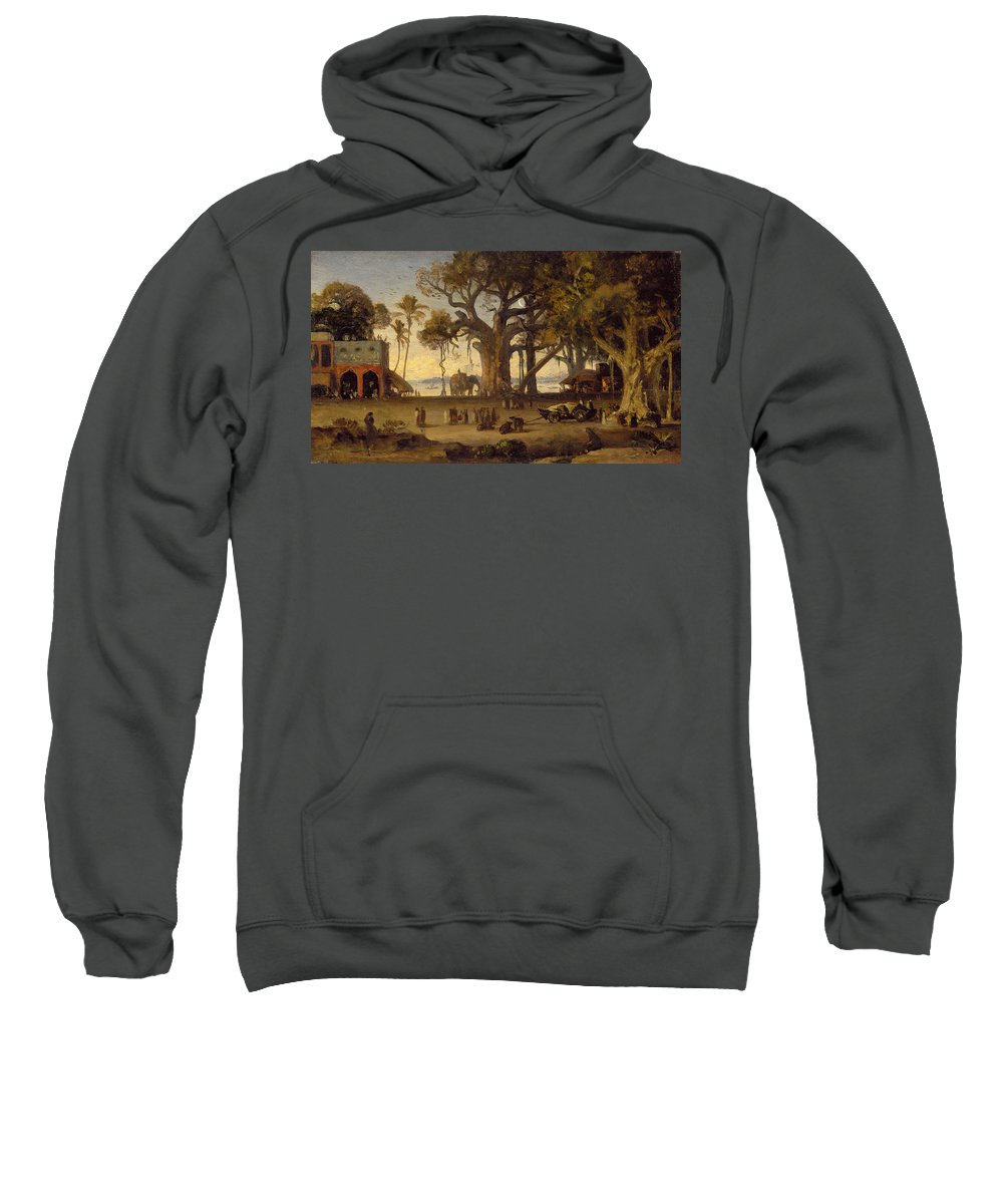 Moonlit Sweatshirt featuring the painting Moonlit Scene Of Indian Figures And Elephants Among Banyan Trees by Johann Zoffany