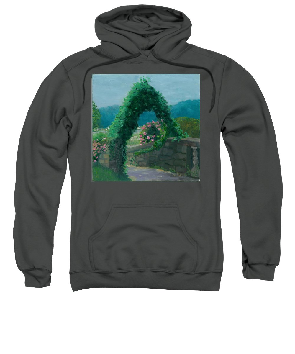 Landscape Sweatshirt featuring the painting Morning At Harkness Park by Paula Emery
