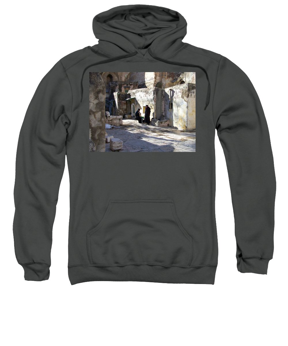 Jerusalem Sweatshirt featuring the photograph Morning Conversation by Kathy McClure