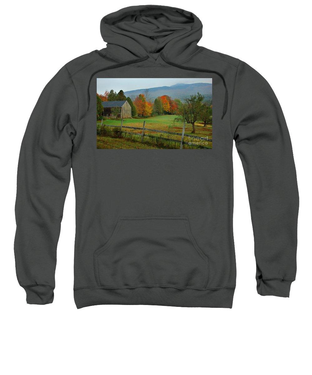 New England Fall Sweatshirt featuring the photograph Morning Grove - New England Fall Monadnock Farm by Jon Holiday