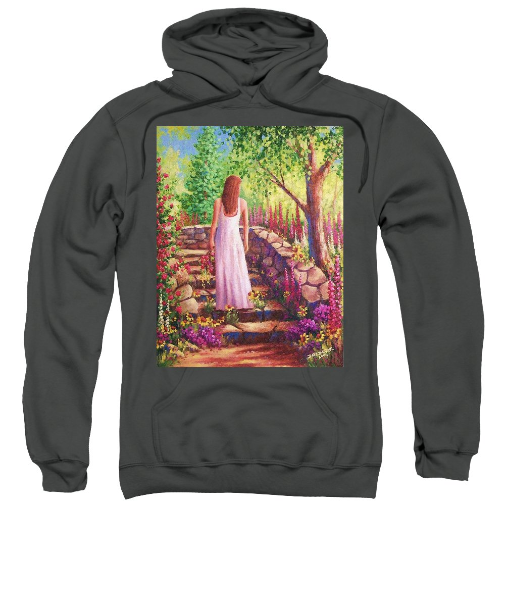 Woman Sweatshirt featuring the painting Morning In Her Garden by David G Paul
