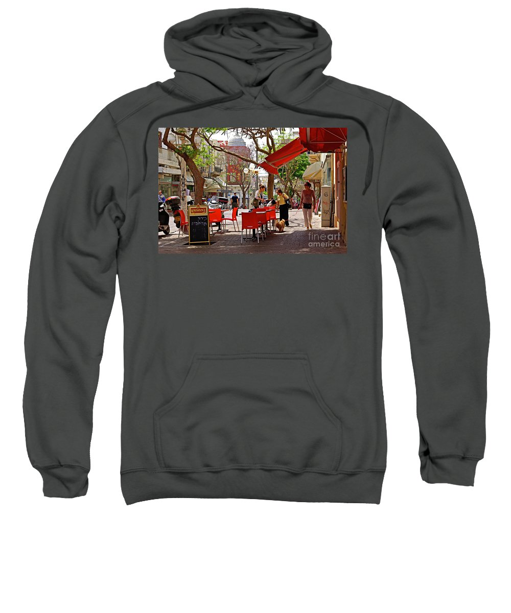 Morning Sweatshirt featuring the photograph Morning On A Street In Tel Aviv by Zal Latzkovich