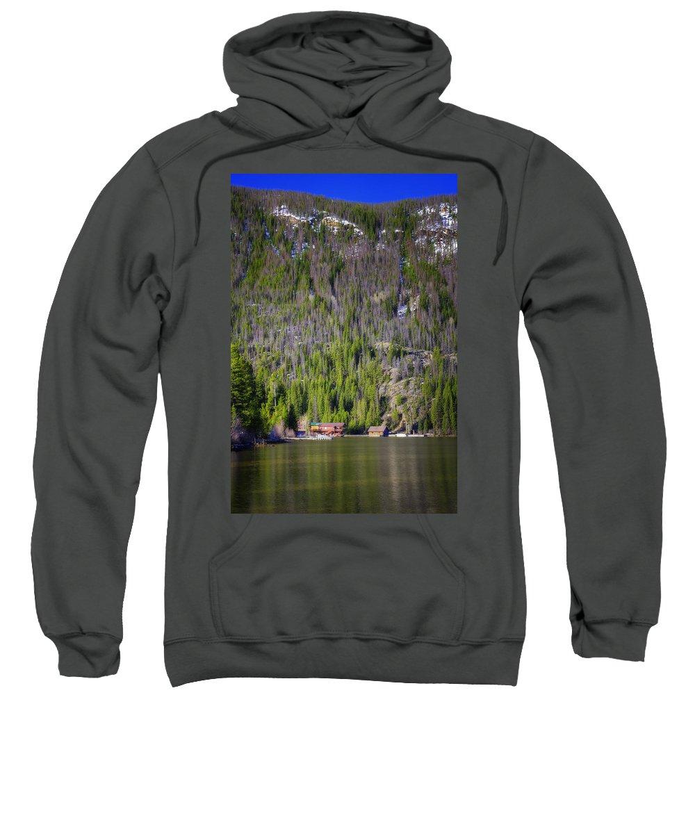 Joan Carroll Sweatshirt featuring the photograph Morning On Grand Lake by Joan Carroll