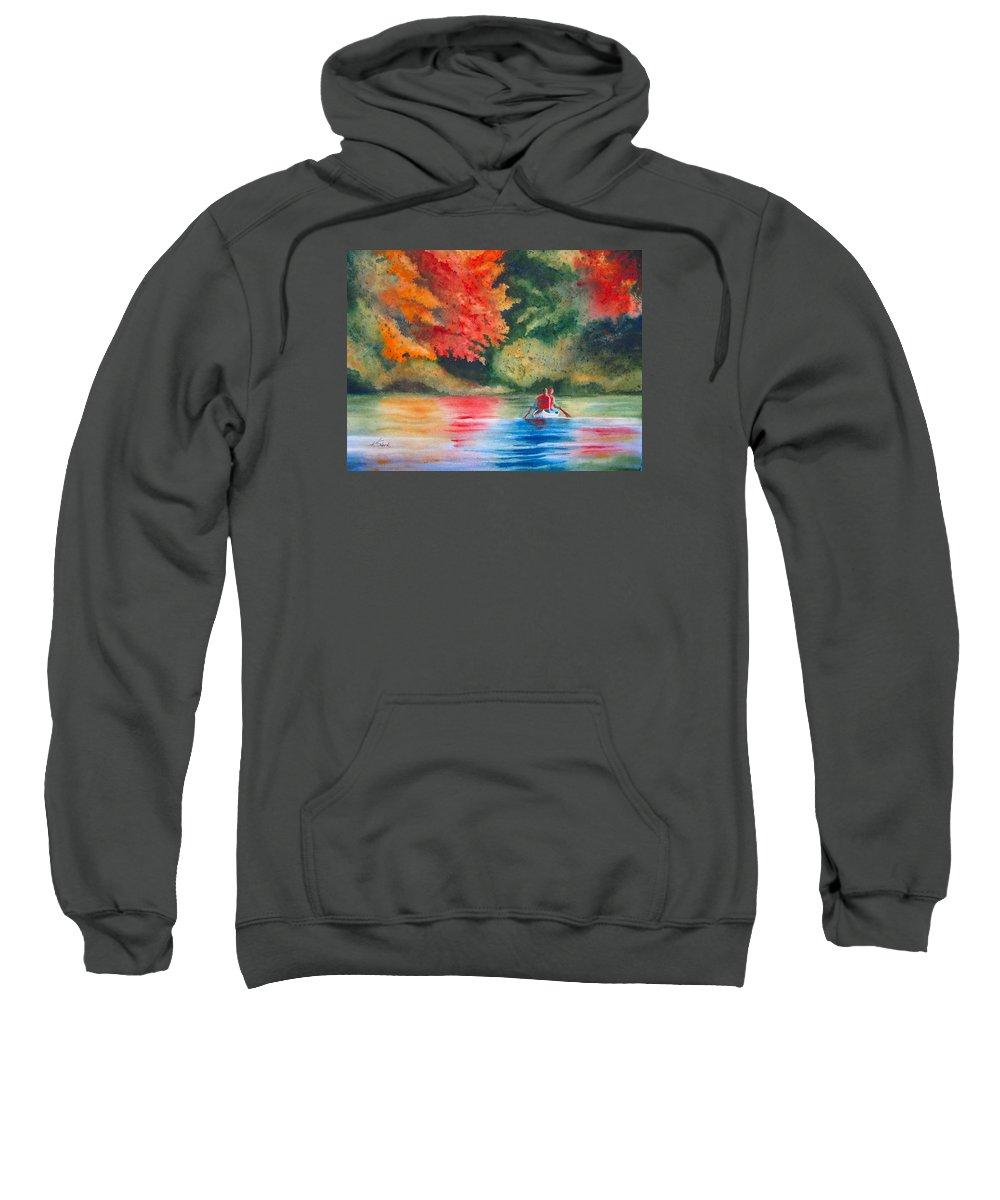 Lake Sweatshirt featuring the painting Morning on the Lake by Karen Stark