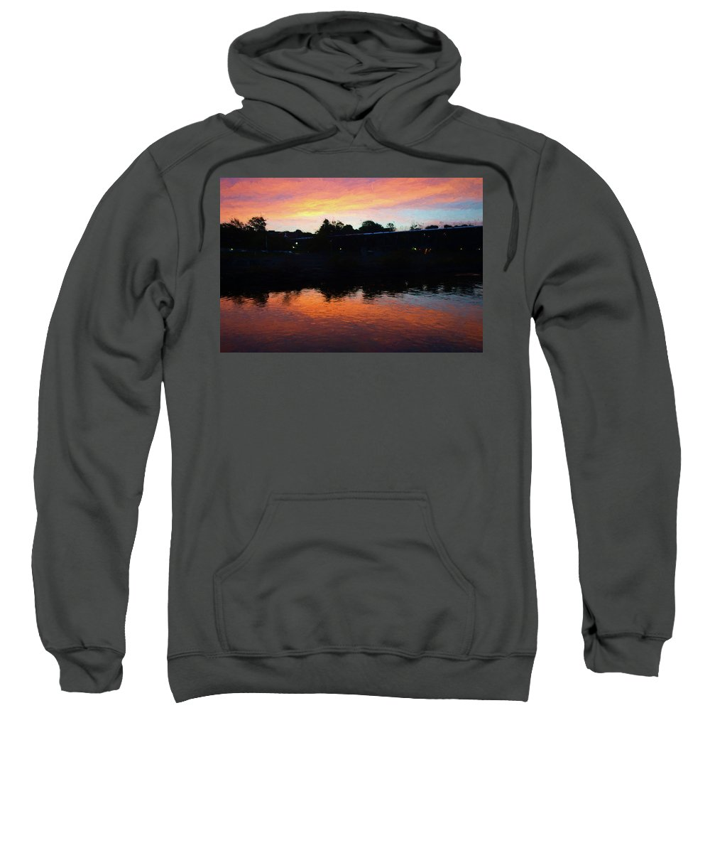 River Sweatshirt featuring the digital art Morning Reflection by Jim Ford