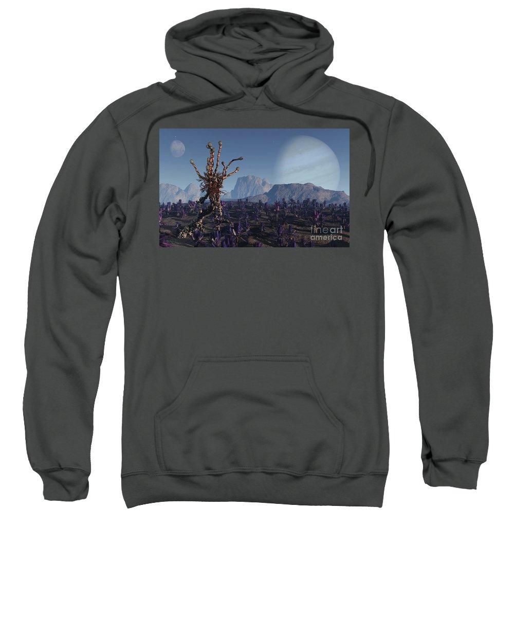 Alien Sweatshirt featuring the digital art Morning Stroll by Richard Rizzo
