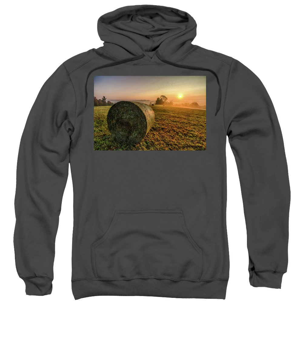 Hayfield Sweatshirt featuring the photograph Morning Sunrise by Wayne Maris