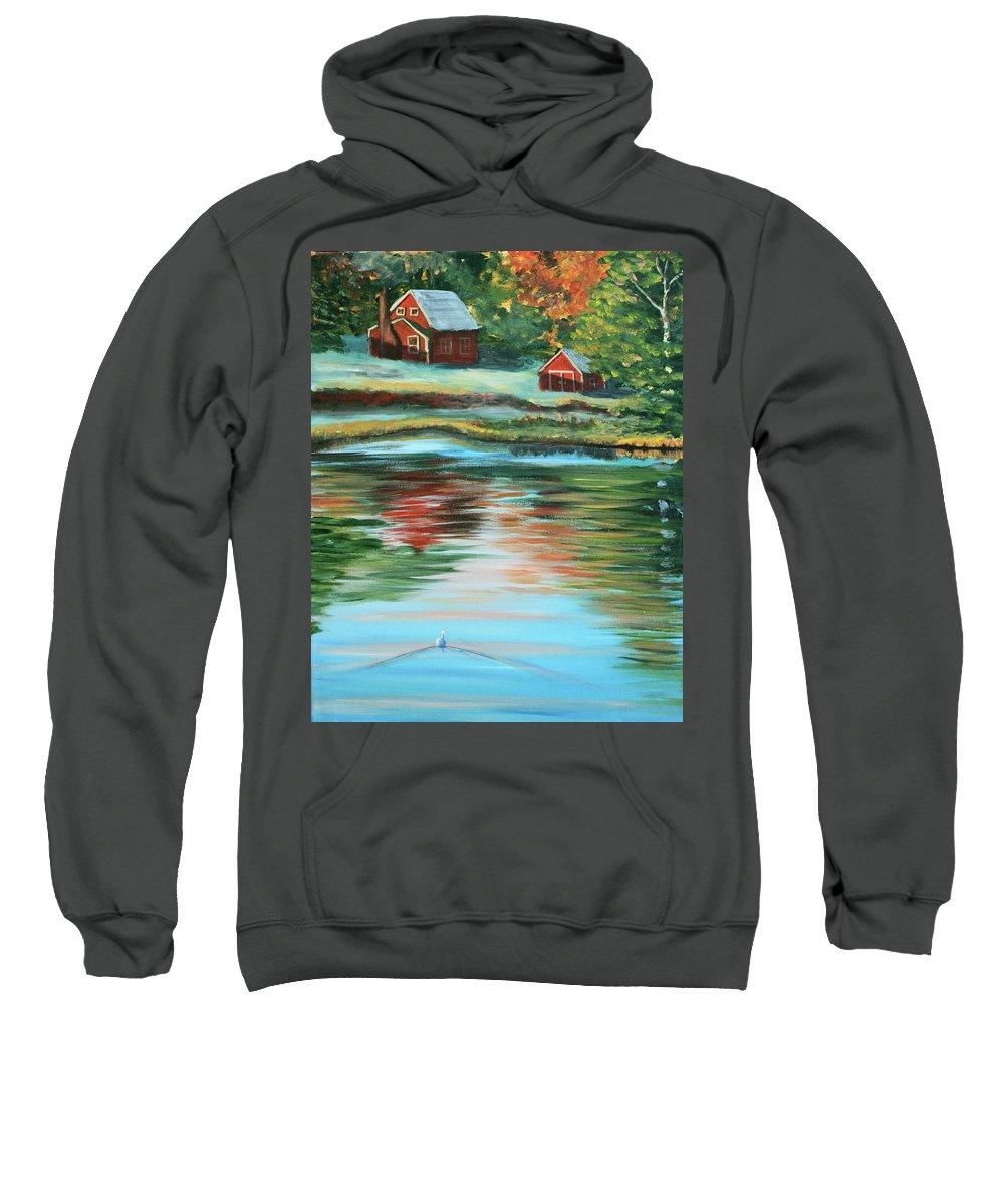 Duck Sweatshirt featuring the painting Morning Swim by Lorraine Vatcher