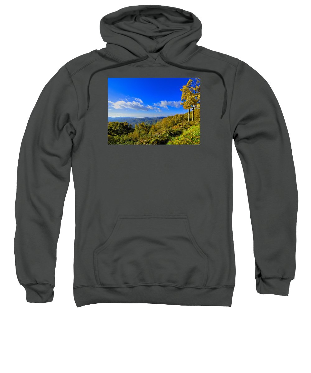 Mountains Sweatshirt featuring the photograph Early Fall Morning View by Larry Jones
